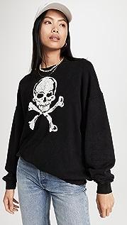 R13 Skull Oversized Crewneck Sweatshirt