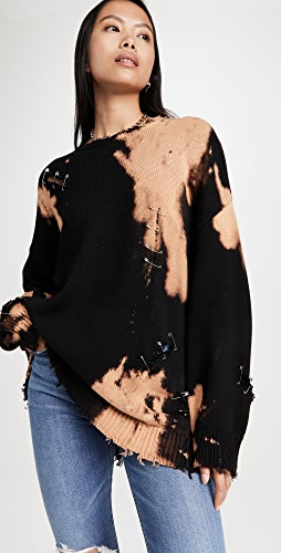 R13 - 漂白做旧圆领毛衣