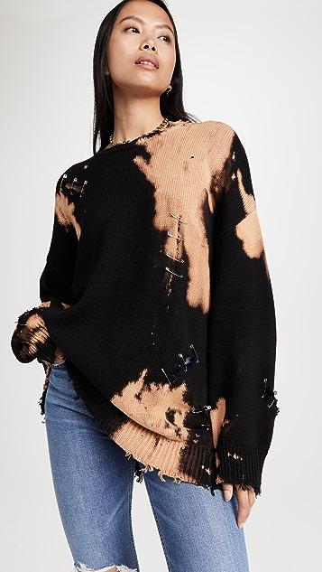 R13 漂白做旧圆领毛衣