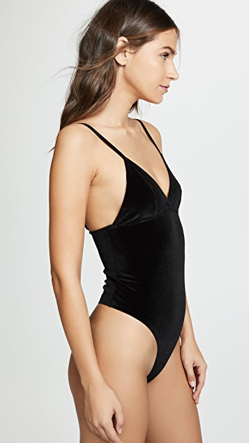 Real Underwear Velvet Thong Bodysuit