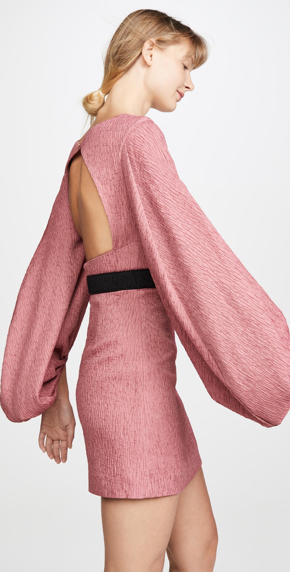 Rebecca Vallance Womens Greta Long Sleeve Belted Mini Dress Pink Size 8