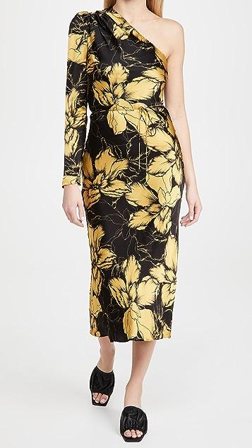 Rebecca Vallance Rosewell One Sleeve Midi Dress