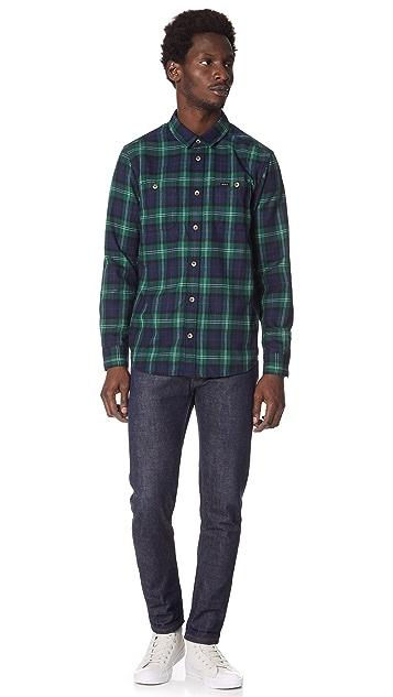 RVCA Bone Long Sleeve Flannel Button Down Shirt