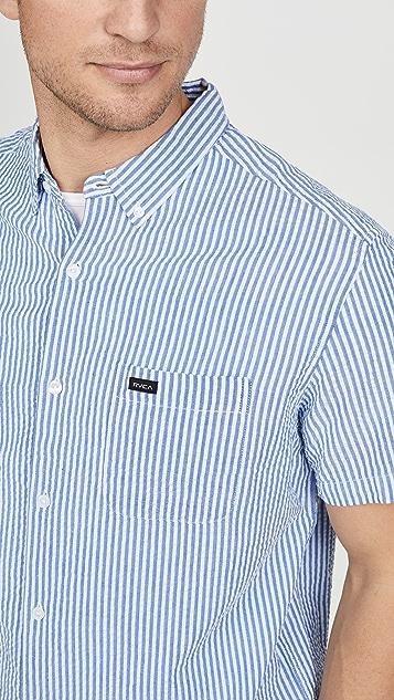 RVCA Mother Seersucker Short Sleeve Shirt