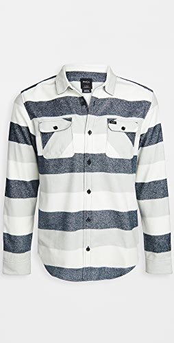 RVCA - Long Sleeve Shallows Stripe Flannel Shirt