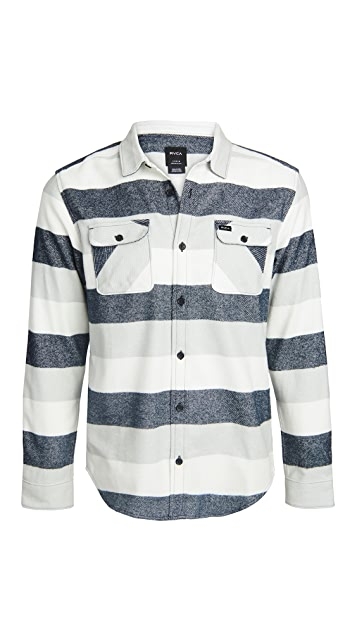 RVCA Long Sleeve Shallows Stripe Flannel Shirt