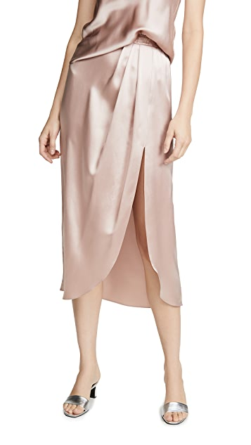 Sablyn Ariel Satin Pleated Slit Skirt