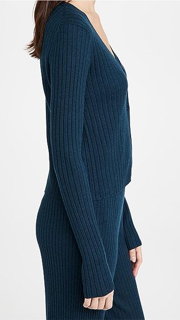 Sablyn 罗纹开司米羊绒系扣衫