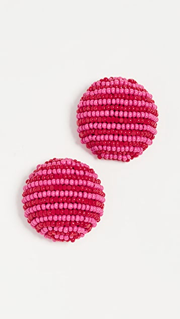Sachin & Babi Coconut Striped Button Earrings - Fuschia Multi