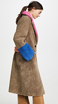 Shearling Coat with Buckle Closures