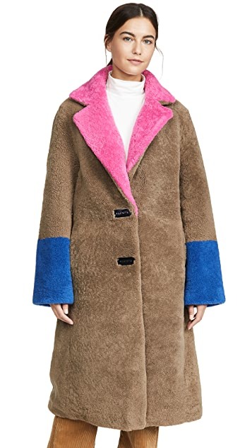 Saks Potts Shearling Coat with Buckle Closures