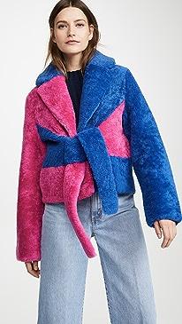 Colorblock Shearling Jacket
