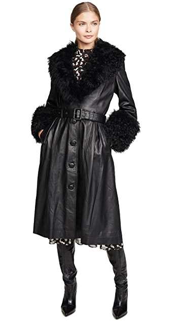 Saks Potts Foxy Shearling Belted Coat