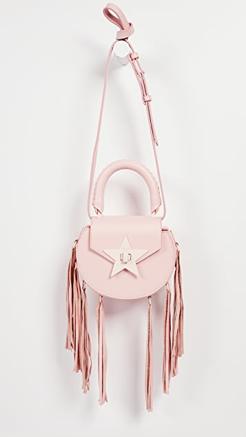 Salar Mimi Paint Cross Body Bag with Fringe - Pink