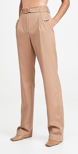 LAPOINTE - 华美羊毛斜纹织物高腰系腰带长裤