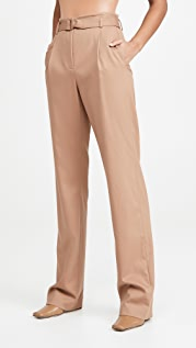 LAPOINTE Luxe Wool Twill High Waisted Belted Pants