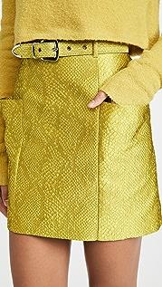LAPOINTE Snake Jacquard Belted Mini Skirt