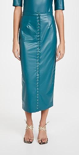 LAPOINTE - 弹性仿皮按扣正面中长铅笔裙