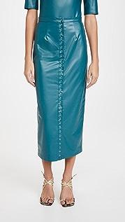 LAPOINTE 弹性仿皮按扣正面中长铅笔裙