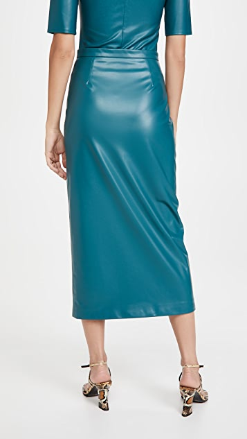 LAPOINTE Stretch Faux Leather Snap Front Midi Pencil Skirt