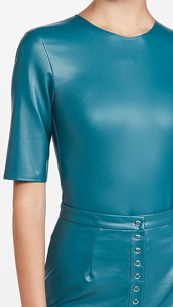 LAPOINTE 弹性仿皮短袖紧身衣