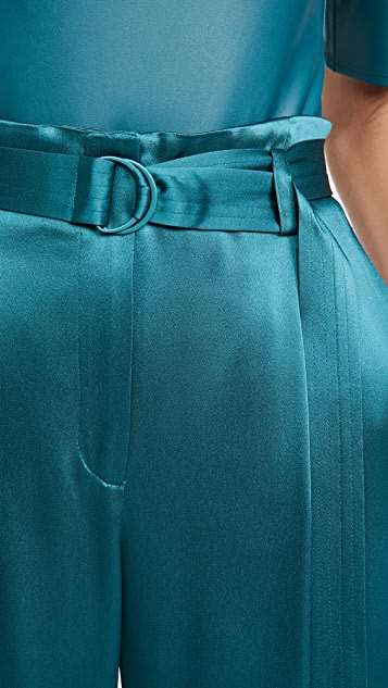 LAPOINTE Doubleface Satin High Waisted Belted Pants