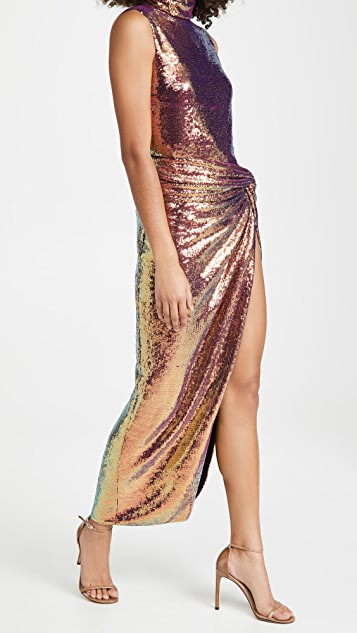 LAPOINTE Iridescent Sequins Draped Neck Shift Tank