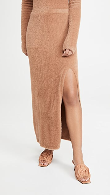 LAPOINTE Soft Teddy Fitted Maxi Skirt With Slit