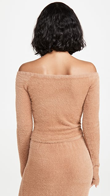 LAPOINTE Soft Teddy Fitted Off Shoulder Sweater
