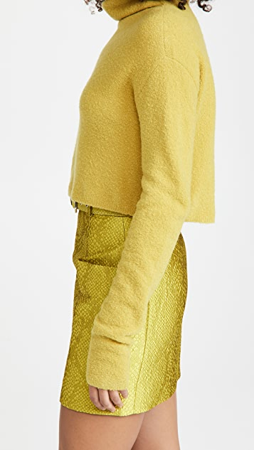 LAPOINTE Wool Cashmere Boucle Cropped Turtleneck