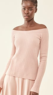 LAPOINTE Ribbed Off Shoulder Fitted Cashmere Sweater