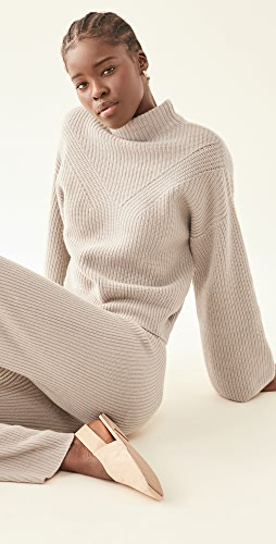 LAPOINTE - Ribbed Mock Neck Bell Sleeve Cashmere Sweater