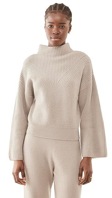 LAPOINTE 罗纹半高领喇叭袖开司米羊绒毛衣