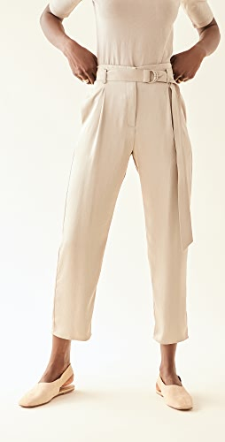 LAPOINTE - High Waisted Belted Cropped Pants