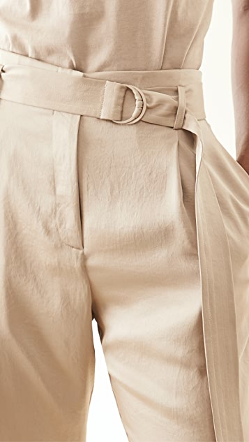 LAPOINTE High Waisted Belted Cropped Pants