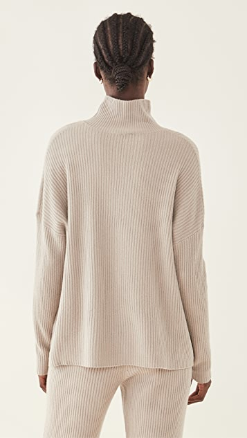LAPOINTE Boxy Ribbed Turtleneck Sweater
