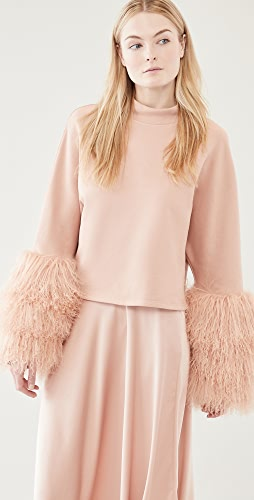 LAPOINTE - Mock Neck Top with Shearling