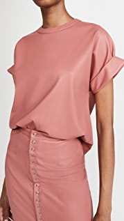 LAPOINTE Stretch Faux Leather Rolled Sleeve Dolman Tee
