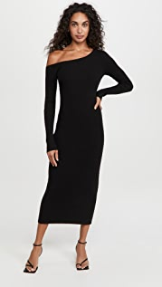 LAPOINTE One Shoulder Long Sleeve Midi Dress