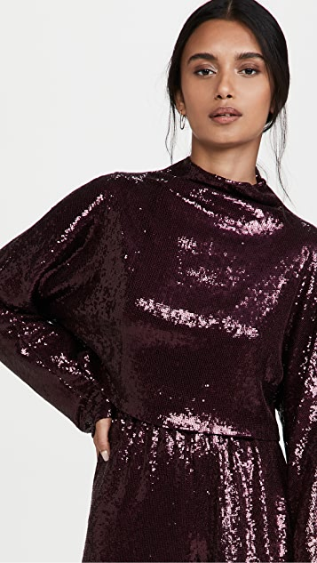 LAPOINTE Lightweight Sequin High Cropped Relaxed Dolman Top