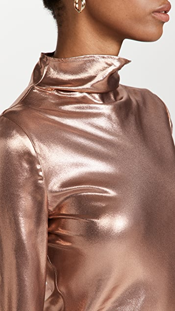 LAPOINTE Metallic Silk Draped Neck Bias Dress with Slit