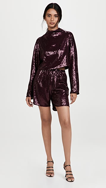 LAPOINTE Sequin Elastic Waist Shorts