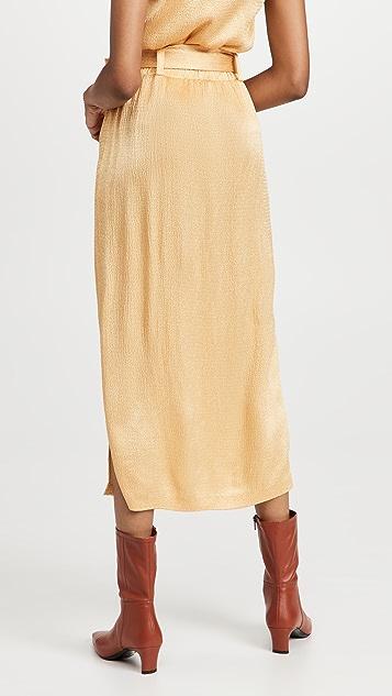 LAPOINTE 抽褶缎面系腰带半身裙