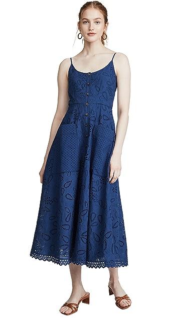 Saloni Fara-c Dress Deep Blue/mural