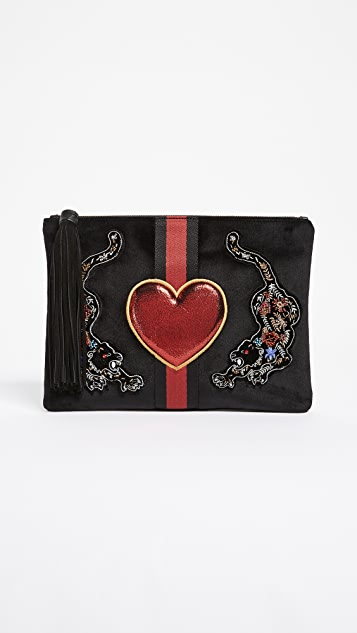 Sam Edelman Ryan Heart of the Tiger Velvet Clutch