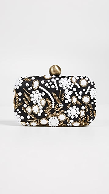 Santi Bead Embroidered Box Clutch