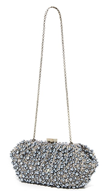 Santi Grey Imitation Pearl Embroidered Clutch