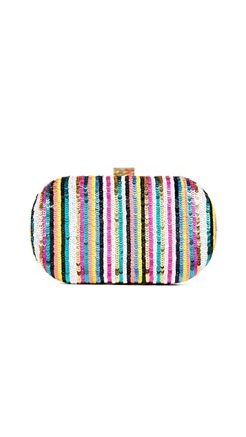 Santi Striped Sequin Clutch