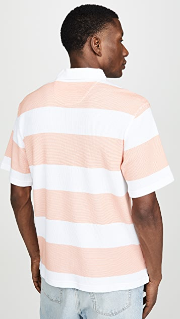 Saturdays NYC Jake Waffle Stripe Polo Shirt
