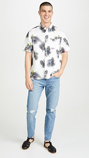 Saturdays NYC Bruce Palm Short Sleeve Shirt